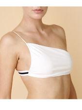 Cali Dreaming Nash White Black Bandeau Asymmetrical One Shoulder Bikini Top