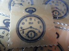 10 x Card Toppers - Gold & Black Pocket Watch / Stop Watch - 3.5cm square
