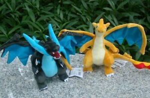 "2Pcs Mega Charizard Shiny X Y Plush Toys Dragon Stuffed Toy Cartoon Soft Doll 9"""