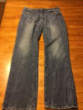 Men's Black Blue Denim Jeans Size 32X34 Relaxed Straight GUC