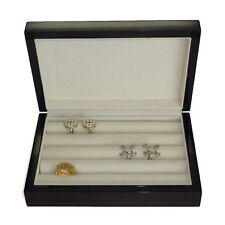 Luxury high gloss wooden Ebony cufflink display storage box cufflinks case ring