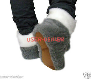 AUTHENTIC GREY MEN'S SHEEPSKIN SHEEP WOOL SLIPPERS BOOTS
