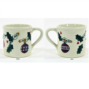 Hartstone Pottery CHRISTMAS TRADITIONS - ORNAMENTS 14oz Mug Holly Berry Vtg 1982