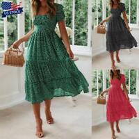 Women's Floral Short Sleeve Midi Dress Ladies Casual Summer Beach Swing Dress US