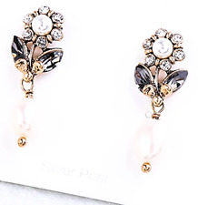NEW Flower Floral Pearl & Crystal Rhinestone Vintage Gucci Style  Drop Earrings