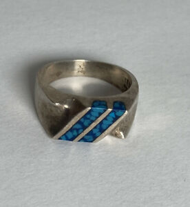 Vintage Silver Marked 925 Mexico Crushed Turquoise Inlay Men Ring-Size 6-1/4