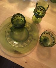 Lot Of 20 Indiana King Crown Depression Glass Green Cup Plate, Goblets, Dessert