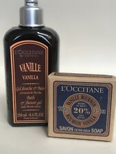 L'OCCITANE VANILLE VANILLA BOURBON BATH & SHOWER GEL, SHEA SOAP GIFT SET,RETIRED