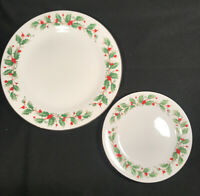 China Pearl NOEL Christmas  Holly & Berry DINNER or DESSERT/SALAD PLATES