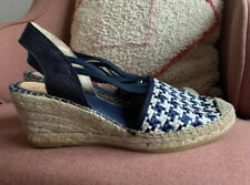 Vidorreta Women's Dunas Sandals US10  Navy Blue White Woven EUR 40 Wedge