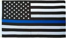 (Lot of 10) 3x5 Usa Police Thin Blue Line Flag 3'x5' Memorial Banner Grommets