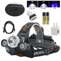 2x PowerAkku Camping & Outdoor Profi Police LED Cree Stirnlampe Kopflampe 8000LM 3x XM-L T6 Inkl
