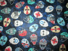 HOCKEY MASKS DECORATED NAVY BLUE COTTON FABRIC FQ