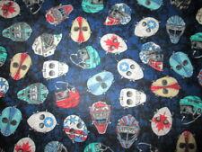HOCKEY MASKS DECORATED NAVY BLUE COTTON FABRIC BTHY