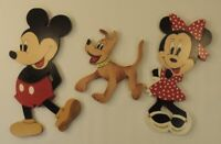 VTG Disney Mickey Minnie Mouse Pluto Handmade Character Wood Sign Wall Decor