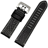 New 23mm Black Genuine leather Watch Strap watch band Compatible For Luminox