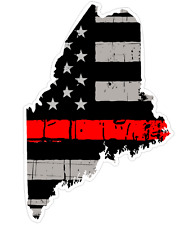 Maine State (C20) Thin Red Line Vinyl Decal Sticker Car/Truck Laptop/Netbook Win