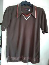 Ban Lon vintage 60s (lg) brown, orange cream stretchy v-neck pullover