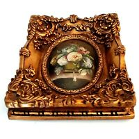 Antique Miniature Portrait,Painted,Flowers Oil Painting/Resin Carved Gold Plated