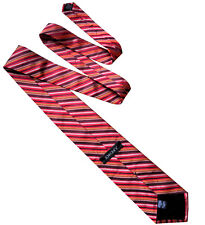 DKNY Classic Mens Woven Red Black Multi Stripe Silk Necktie Work Tie > RRP £70