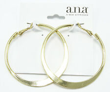 "New Geometric Gold Tone Hoop Earrings 2"" Wide nwt #E1070"