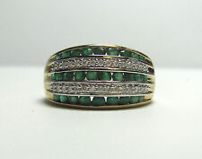 14K Yellow Gold Emerald And Diamond Statement Size 7 Ring R8351