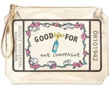 "Betsey Johnson NWT $65 ""Godd for One Champagne"" Gold XL Wristlet Bride Wedding"