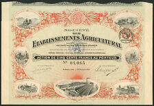 More details for société des etablissements agricultural, 500 franc share, aubervilliers 1920,...