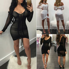 Off Shoulder Women Mesh Sheer Party Bodycon Mini Dress Evening Party Cocktail