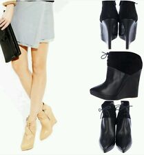 Reed Krakoff Suede Leather Zipper Ankle Wedge Booties Boots Shoes 38.5