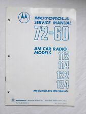 Motorola Car Radio 72-60 Original Service Manual For Models 112 114 122 & 124