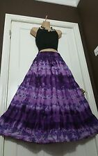 Summer Cotton Tie Dye Skirt Crochet Lace Lined Purple/Lilac 10 12 14 16 18 20