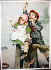 art print~SEE YA SOON~Children on Beach Nautical Victorian boat vtg re 10.5x14.5