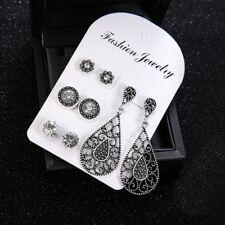 4 Pairs Black Rhinestone Boho Earrings Set Crystal Stud Drop Womens Ladies Newly