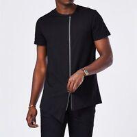 Men's Crew Neck Irregular Hem T-Shirt Before Zipper Hip Hop Hipster Streetwear