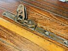 """VINTAGE CAST BRONZE SLIDING CLEW OUTHAUL WITH 15"""" OF 1"""" TRACK,  NICE PATINA /2"""