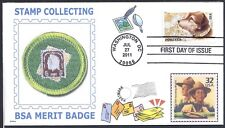 BOY SCOUT  STAMP COLLECTING   MERIT BADGE   BSA   OWNEY THE POSTAL DOG FDC- DWc