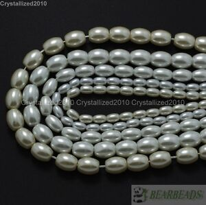 """Cream Top Quality Czech Glass Pearl Oval Rice Loose Beads 6mm 7mm 8mm 9mm 16"""""""
