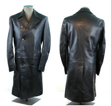 Helmut Lang Black Leather Overcoat Jacket EUR46 US36 Made in Italy Preowned Cond