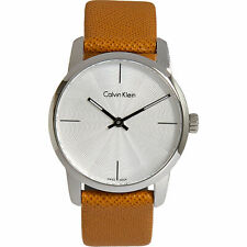 £169 CALVIN KLEIN Designer Caramel & Silver Analogue Swiss Made Quartz Watch