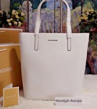 NWT MICHAEL KORS EMRY LG North/South TOTE Crossbody Bag OPTIC WHITE Leather $298
