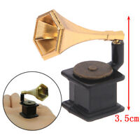 1:12 Dollhouse Miniature Accessories Vintage Phonograph Family Furniture ToyF ME