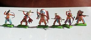 Britains Deetail Indians Full Set of 6 Metal Bases 1971 1st Series 7540