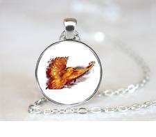 Phoenix Rising PENDANT NECKLACE Chain Glass Tibet Silver Jewellery