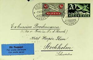 SWITZERLAND 1926 2v ON AIRMAIL COVER FROM ZURICH TO SWEDEN