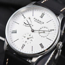 Power Reserve Parnis 42mm Seagull Movement Men's Automatic Watch Black Dial