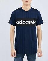 Mens Adidas Originals pinstrip print tshirt blue black trefoil tee size M RARE