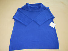Sag Harbor Women's Petite 3/4 Sleeve Cowl Neck Sweater (PXL) Blue NWT