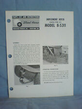 Wheel Horse Model 8-5311 Hitch Operators, Assembly, And Parts List. Original!