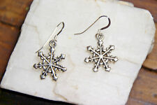 925 sterling silver earrings Charm Christmas snowflake pewter 1 pair Frozen